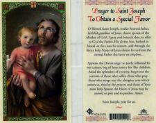 Saint Joseph Prayer Card To Obtain a Special Favor Catholic Laminated HC9-217E