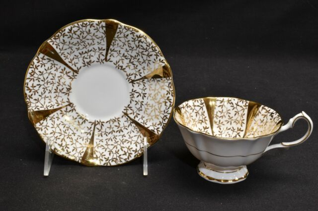 Queen Anne 5693 Gold & White Cup & Saucer