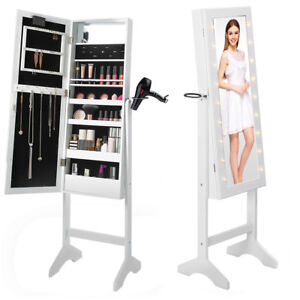 Image Is Loading Full Length Led Mirror Cabinet Make Up Jewellery