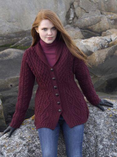 Shawl Collar Cable Knit Sweater Wool XS S M L XL Irish Ladies Buttoned Aran Warm