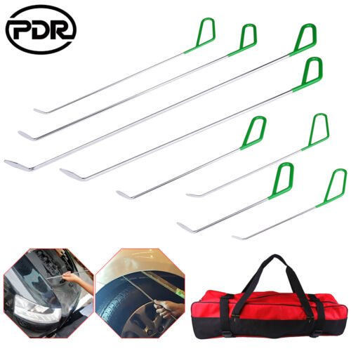 PDR Auto Body Tools Push Rods Whale Tail Set w//Bag Dent Ding Repair Hail Removal