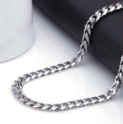 GRAU MEN'S 7MM 48cm Stainless Steel Curb Chain Necklace Free shipping