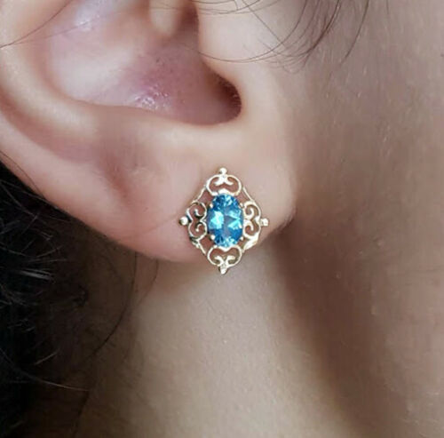E028 Genuine 9ct Solid Yellow Gold NATURAL Swiss Blue Topaz Stud Earrings