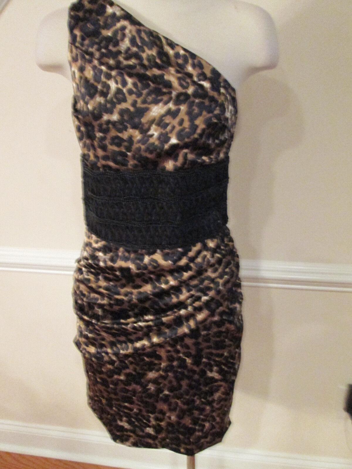 Boston proper leopard one shoulder dress 6 new