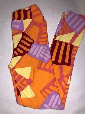 BoxE LuLaRoe Kids Leggings L//XL New Orange W// Purple Yellow White Polka Dot