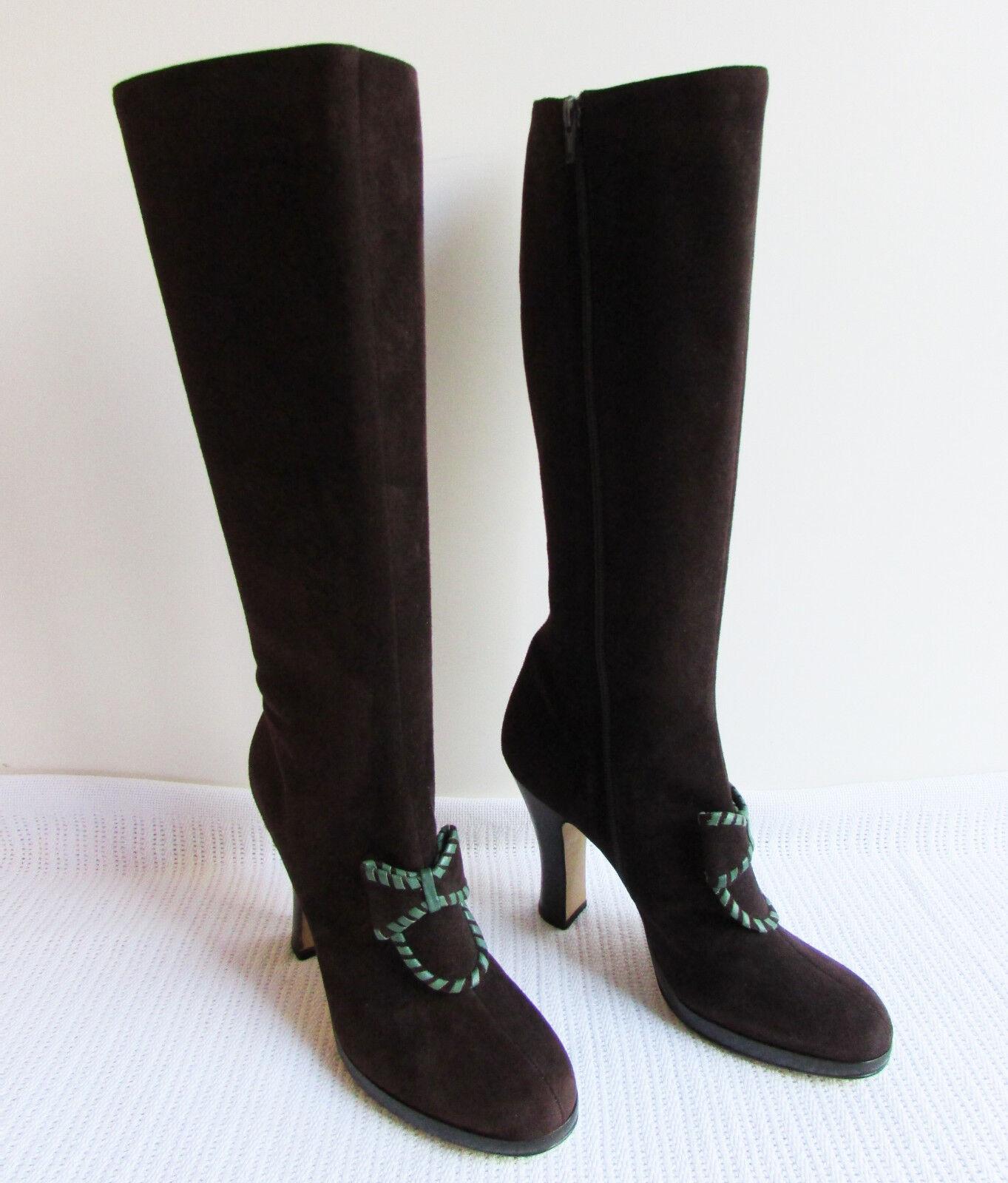 Anna SUI Talla 40 9 marrón gamuza cuero la rodilla botas Taco Alto Detalle De Moño Con Cremallera Cierre
