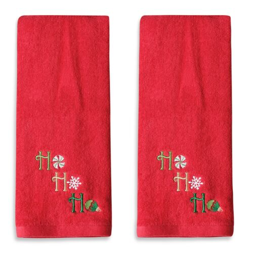 "Set/2 Bath Hand Towels Embroidered ""Ho Ho Ho"" Red Plush Cotton Velour 28x16 NWT"