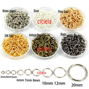 50-500 Split Jump Rings Open Connector Jewelry Finding 4//5//6//8//10//12//14//20mm DIY