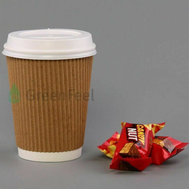 Corrugated Paper Disposable Drinking Cups , 8 OZ Printed