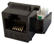 10x CAT3 Keystone Jack H-Style RJ11 RJ12 Network Data Black K31-111/180/BK