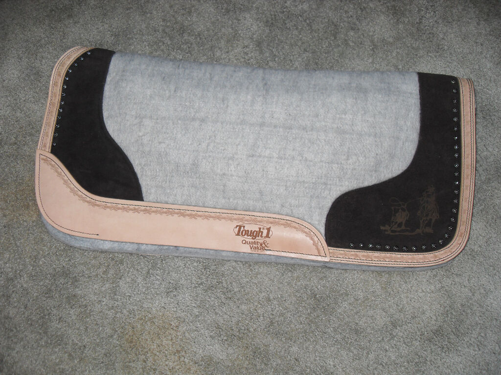 NEW  TOUGH ONE 3 4  FELT, SUEDE, SHOW LAZER ETCHED DESIGN VENTED WESTERN PAD  quality first consumers first