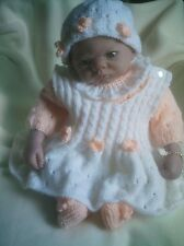 "KNITTING PATTERN BABY 0-3 MONTHS OR REBORN DOLL 19""-21"" Patt 27 Pinafore"