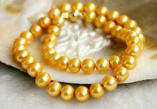 """Pretty! 8-9MM Gold Akoya Cultured Pearl Necklace 18"""" AA+"""