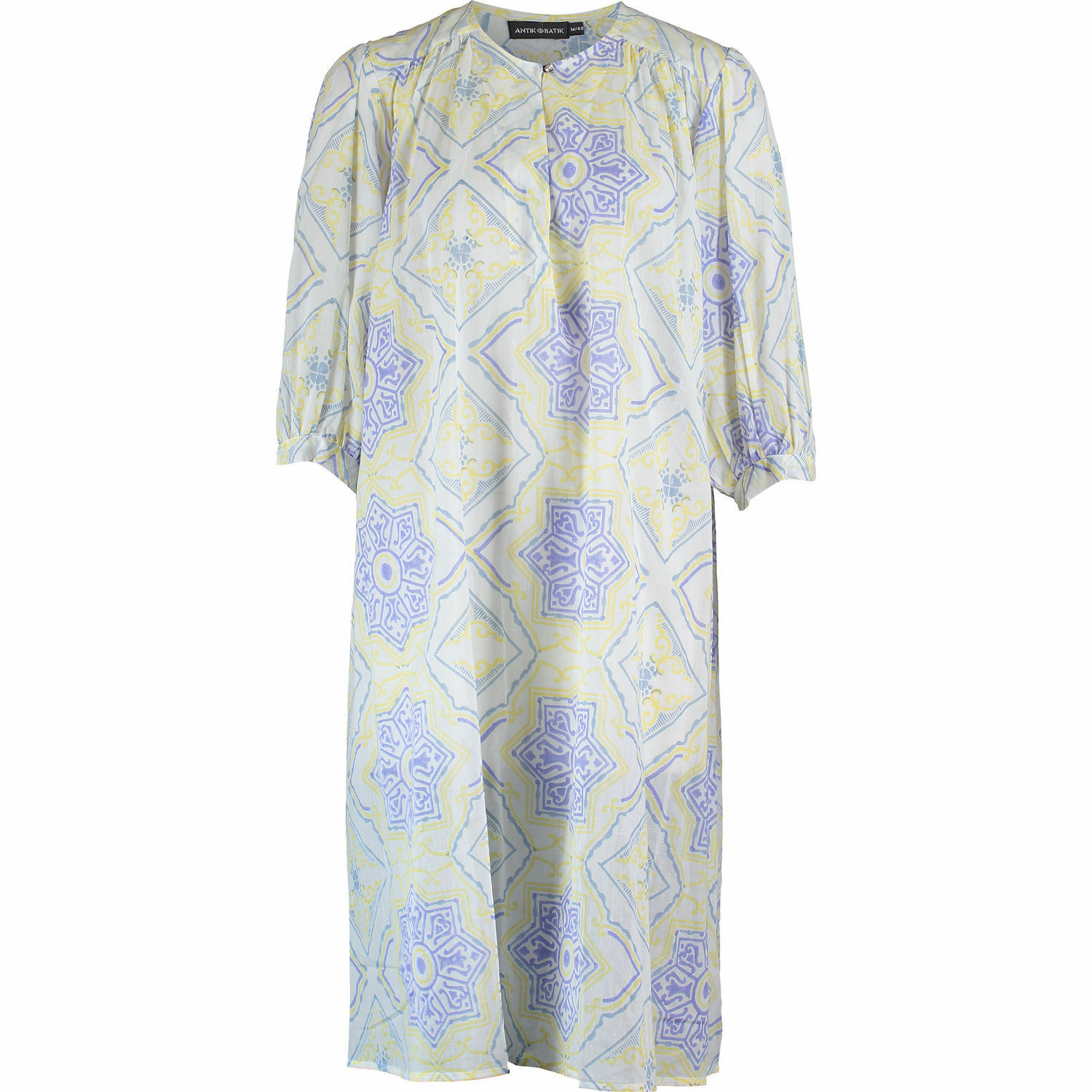 New ANTIK BATIK Caliste Designer lila & Gelb Block Print Tunic Dress XS