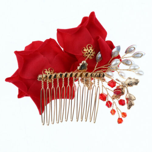 Pearl Crystal Red Flower Bridal Hair Comb Wedding Hair Piece Accessories