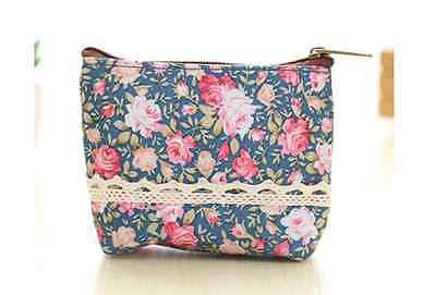 Mini kleine Kosmetiktasche Stiftetasche Stoff Blumen Flower Tasche Damen Spitze