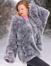 SUPERTANYA GREY Hand Knitted Fuzzy Sweater Hoodie Decofur Cardigan with Zipper