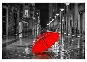 Red Umbrella Black And White Street Art Large Poster Canvas