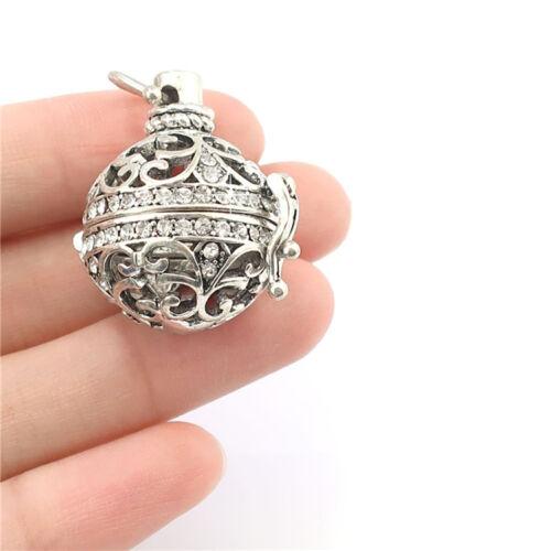 B111 Argent Antique Avec Strass Flottant Diffuseur perles cage Diffuseur Médaillon
