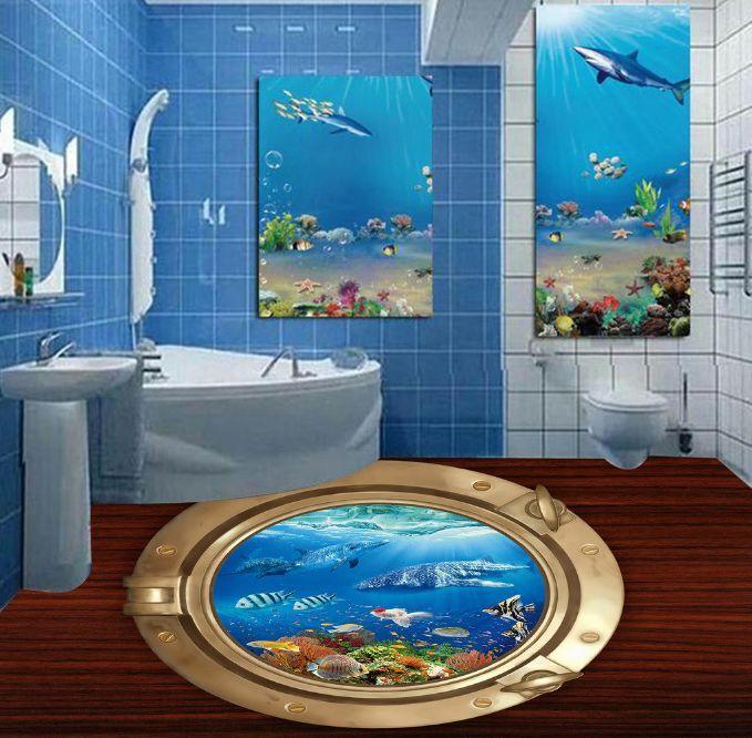 3D Wooden Frame Ocean 15 Floor Wallpaper Murals Wall Print Decal 5D AJ WALLPAPER