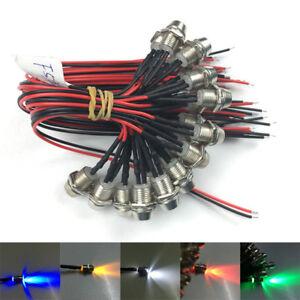 1-10-x-12V-3mm-LED-mit-Halter-und-20cm-Kabel-Leuchtdiode-Leuchtdioden-Fassung