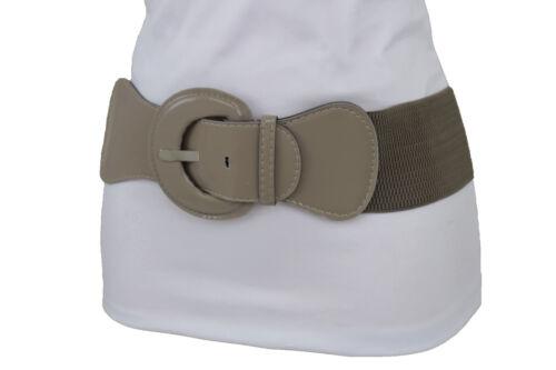 Women Fashion Elastic Fabric Dark Beige Belt Big Round Buckle Hip Waist XS S M