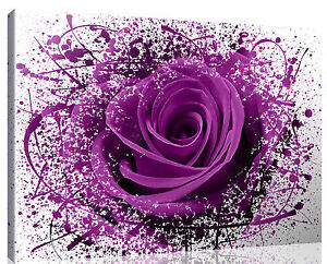 Image Is Loading LARGE MODERN PURPLE ROSE FLOWERS Canvas Print Pictures