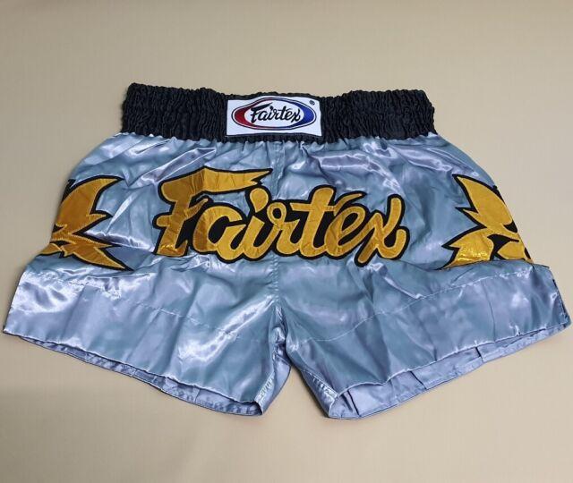 FAIRTEX SHORTS MUAY THAI MMA TIGER KICK BOXING WHITE NEW SIZE M SATIN FORTUNE