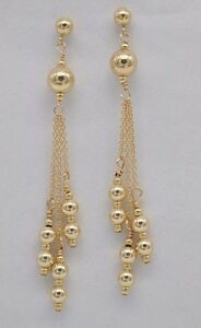 #BE169 New 14K Solid Yellow Gold Round Triple Bead Drop/Dangle Earrings