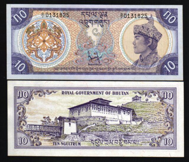 BHUTAN 10 NGULTRUM P8 1981 KING UNC LARGE DRAGON DZONG MONEY BILL ASIA BANK NOTE