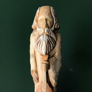 Hand Carved Wood Santa w/ Stringed Instrument Gallagher 2000 Folk Art 7 Inches