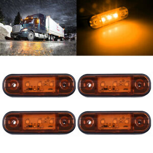 4X-Amber-3-LED-Side-Marker-Light-Lamp-Truck-Trailer-Camper-RV-Waterproof-12V-24V