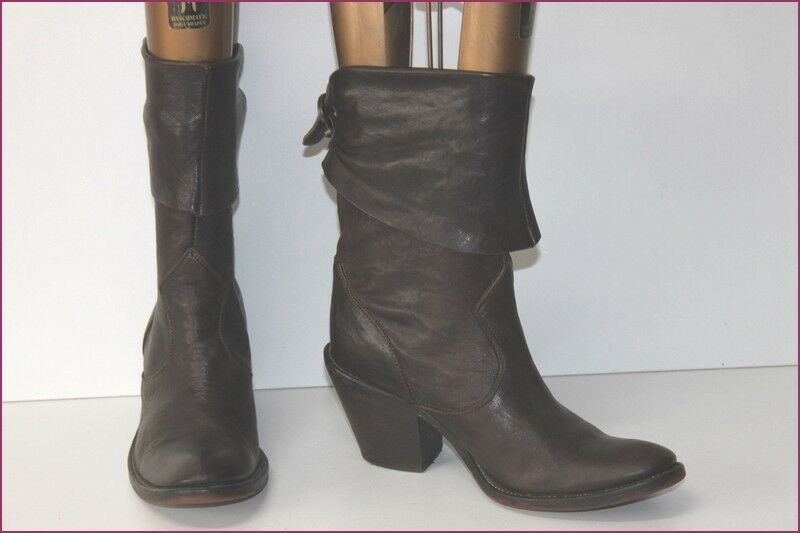 Boots Italian All Brown Leather on reverse T 38 VERY GOOD CONDITION