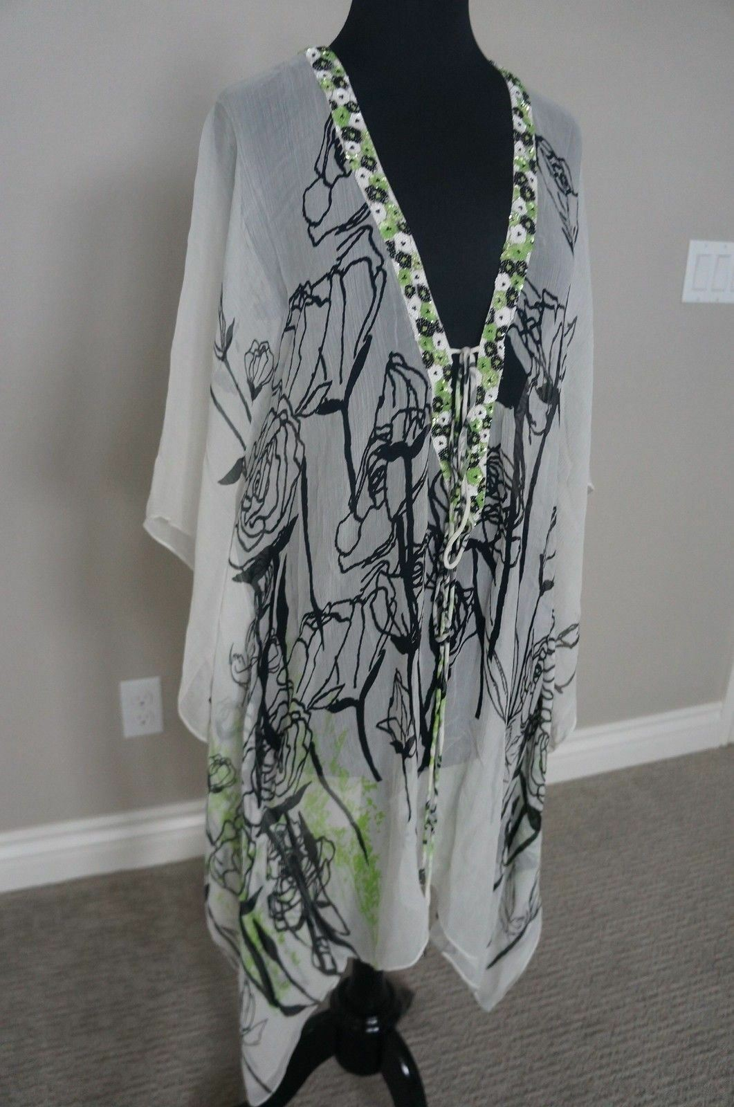 NEW Pashma Petanu Anthropologie Silk Poncho Dress Cover Up Top OS S M L RP