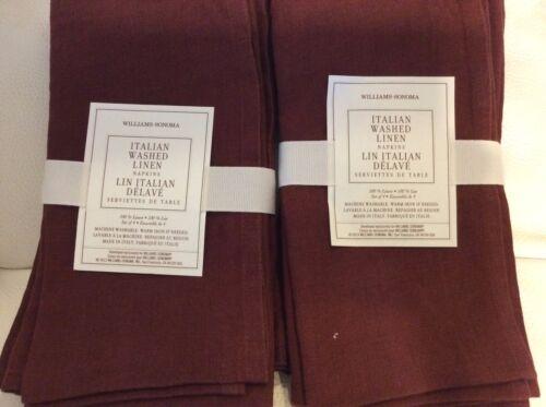 NWT Port Burgundy Williams Sonoma Italian Washed Linen  Napkins Set of Eight 8
