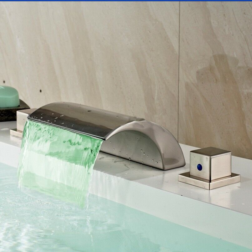 Vienna Deck Mounted Contemporary Two Handled Waterfall Bathtub LED Faucet