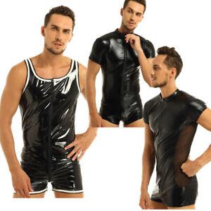 Mens-Latex-Bodysuit-Leather-Zentai-Catsuit-Zipper-Boxer-Shorts-Underwear-Costume