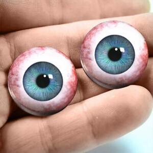 Light Blue Glass Eyes Realistic Human Doll Eyeball Set 35mm