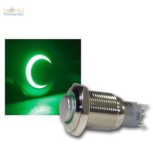 Edelstahl-Drucktaster-Taster-Klingeltaster-Klingelknopf-LED-beleuchtet-gruen