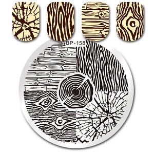 Nail-Stamping-Plates-Tree-Ring-Wood-Grain-Manicure-Nail-Art-Image-Template-DIY