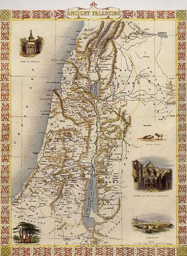 1800/'S MAP ANCIENT PALESTINE TEMPLE VINTAGE POSTER REPRO