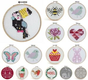Counted-Cross-Stitch-Kit-With-Hoop-Beginners-Childrens-Starter-Trimits-Felt
