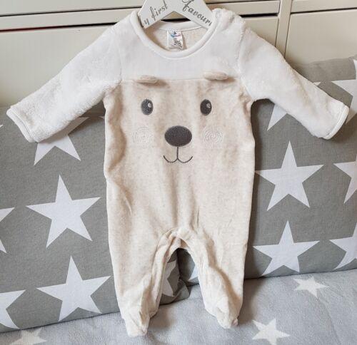 Strampler Schlafanzug Overall Pyjama Bär Bärchen Nicki Velour Beige Gr 50-62