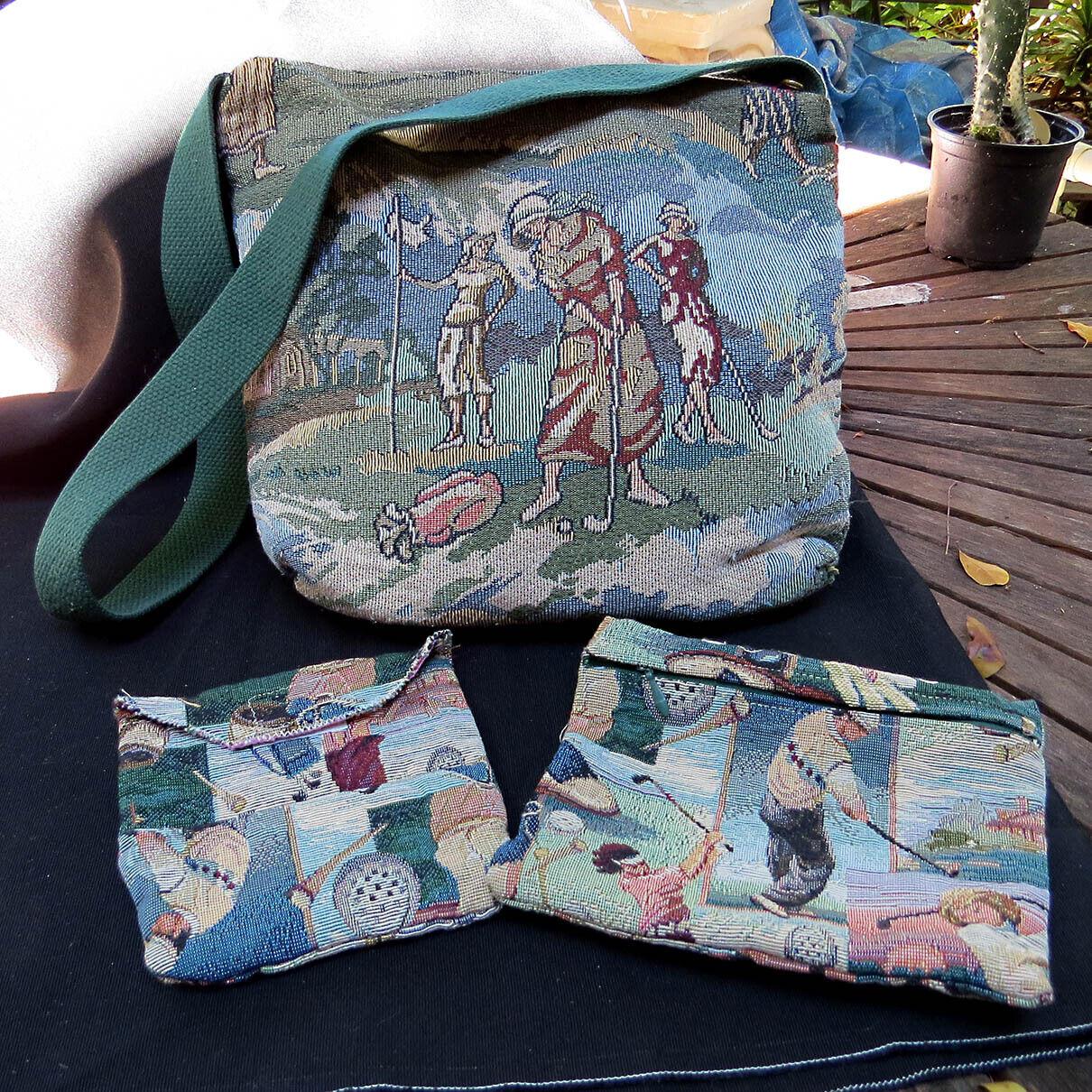 Vintage Gloria Rae Tapestry Bag Pouch Set Golfing Women Golfers Roaring 20s