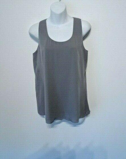 Theory Women's Aleukia Sheen 2 Crepe Silk Blend Sleeveless Top Sz S NWT 245 GREY