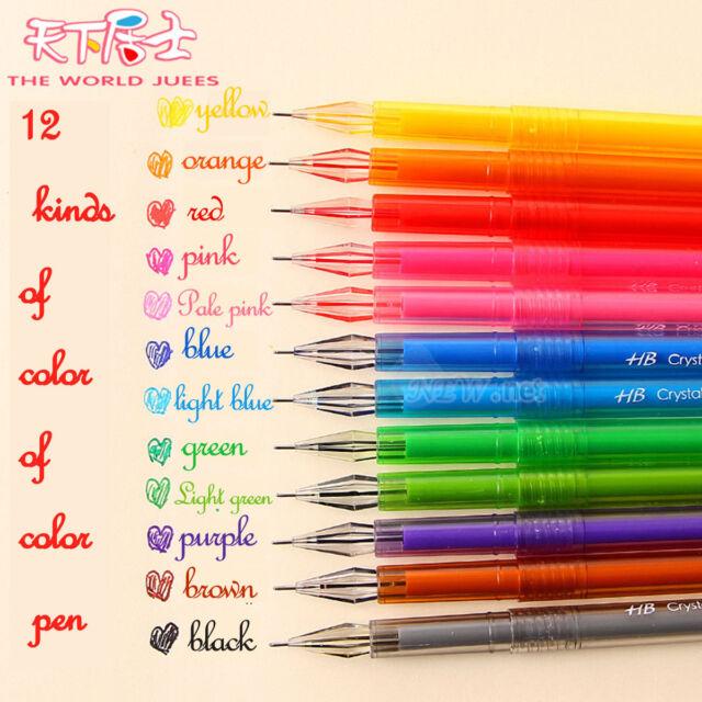0.5mm 12pcs/set Novelty Colorful Gel Ink Pen Refills Stationery School Supplies
