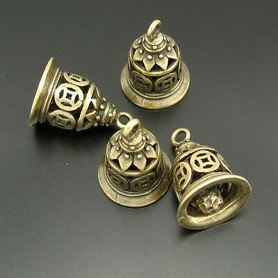 12PCS Antiqued Style Bronze Vintage Brass Bell Pendant Charms 13*11mm 03753