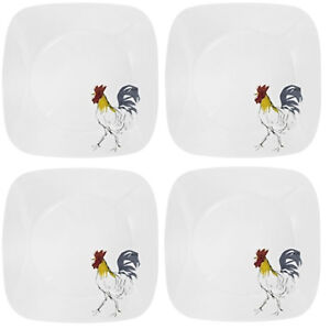 Image is loading NEW-Set-of-4-Corelle-Square-Country-Dawn-  sc 1 st  eBay & NEW! Set of 4 Corelle Square Country Dawn 10 1/4