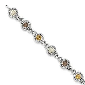 925-Sterling-Silver-Citrine-and-Smoky-Quartz-and-Lemon-Round-Gem-Bracelet-7-034