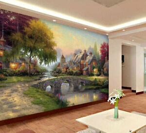 Cobblestone European Village Full Wall Mural Photo Wallpaper
